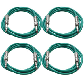 """Seismic Audio SATRX-2-4GREEN 1/4"""" TRS Patch Cables - 2' (4-Pack)"""