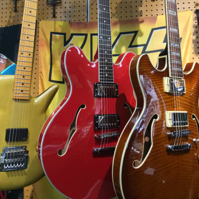 Oscar Schmidt OE30-CH Semi-Hollow Cherry Delta King Electric Guitar for sale