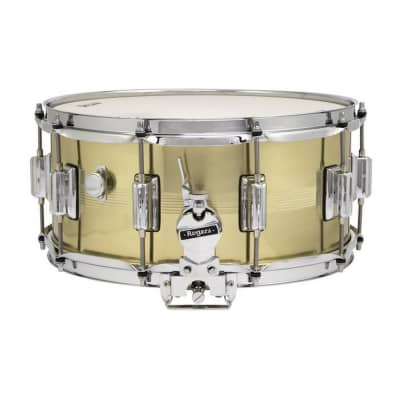 """Rogers #37 Dyna-Sonic 6.5x14"""" Brass Snare Drum with Beavertail Lugs Reissue"""