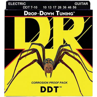 DR DDT7-10 Drop D Tuning 7-String Electric Guitar Strings (10-56)