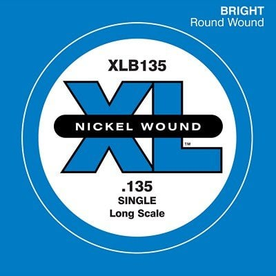 D'Addario XLB135 Nickel Wound Long Scale Single Bass Guitar String, .135