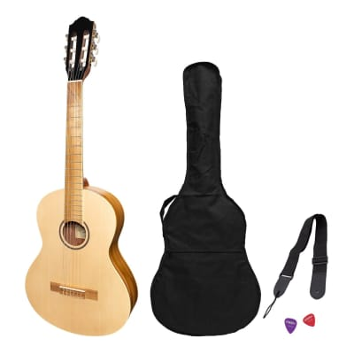 Martinez 'Slim Jim' 3/4 Size Student Classical Guitar Pack with Built In Tuner (Spruce/Jati-Teakwood) for sale