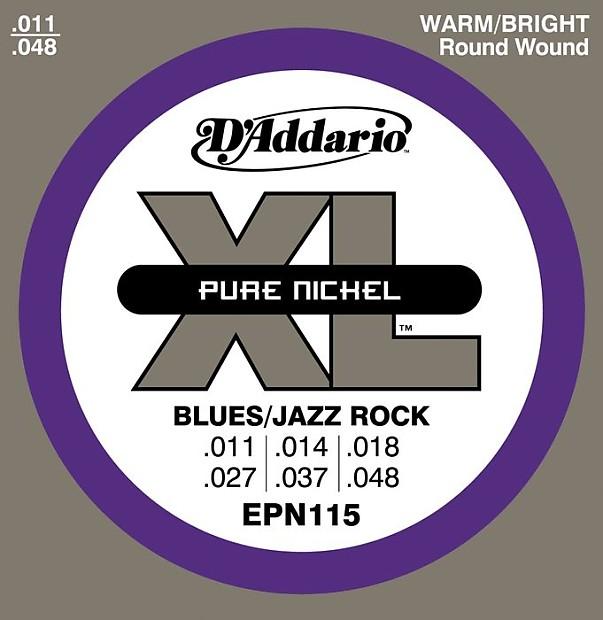 11-48 D/'Addario EPN115 Pure Nickel Electric Guitar Strings Blues//Jazz Rock