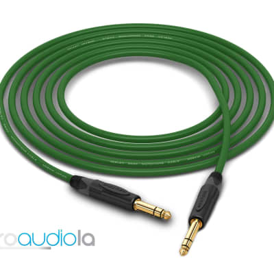 "Mogami 2534 Quad Cable | Neutrik Gold 1/4"" TRS to 1/4"" TRS | Green 1.5 Feet | 1.5 Ft. | 1.5'"