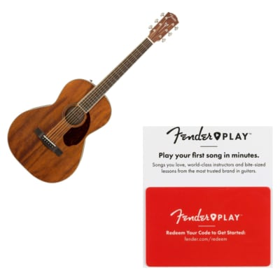 Fender PM-2 Parlor NE All Mahogany Acoustic Guitar Natural w/ Deluxe Hard Case and Humidifier w/ Fender Play Prepaid Card