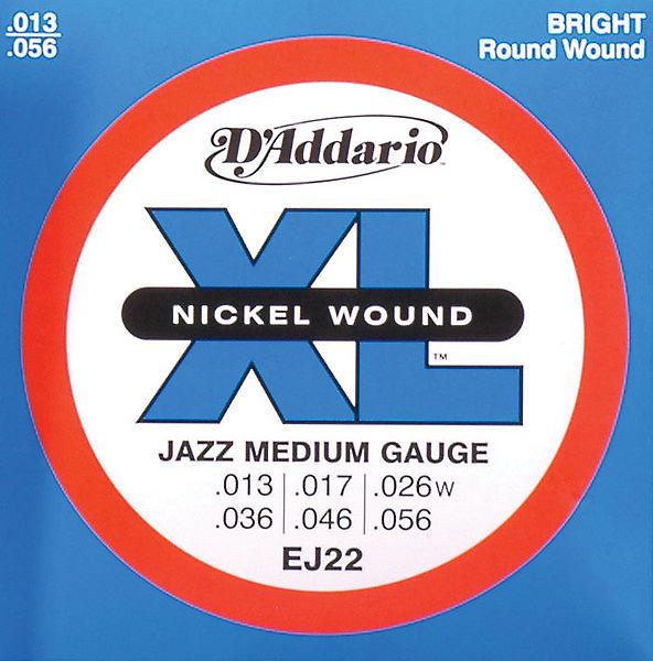 3 Sets D/'Addario EPN22 Pure Nickel Jazz Medium 13-56 Electric Guitar Strings