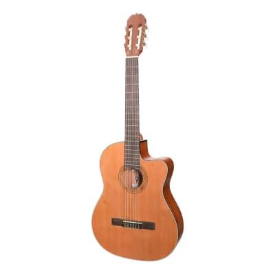 Martinez 'Natural Series' Cedar Top Acoustic-Electric Classical Cutaway Guitar (Open Pore) for sale