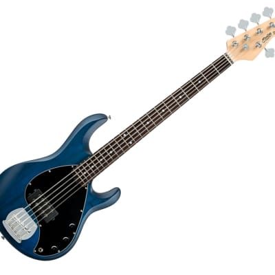 Sterling by Music Man RAY5-TBLS-R1 StingRay5 in Trans Blue Satin, 5-String - Used for sale