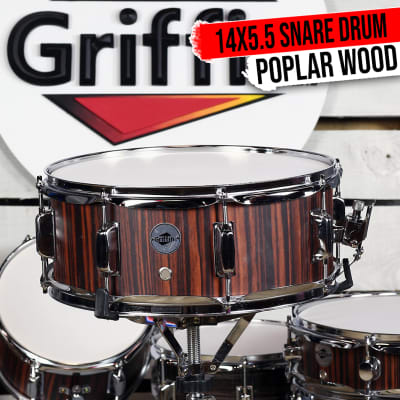 """GRIFFIN Snare Drum – 14""""X5.5"""" Poplar Wood Shell Acoustic Percussion Head Kit Set"""