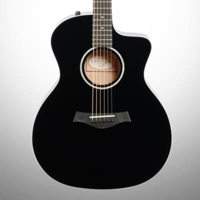 Taylor 214ce Deluxe Grand Auditorium Lutz Top Acoustic-Electric Guitar Black
