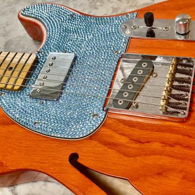 G&L Tribute Series ASAT Classic Bluesboy Semi-Hollow Clear Orange w/ Custom Swarovski Pickguard. for sale
