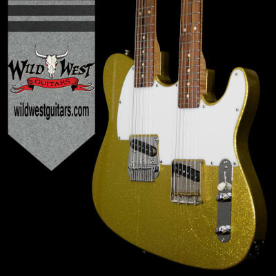 2003 Fred Stuart Golden Hawk Double-Neck Chartreuse Sparkle for sale