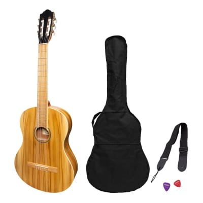 Martinez Full Size Student Classical Guitar Pack with Built In Tuner (Jati-Teakwood) for sale