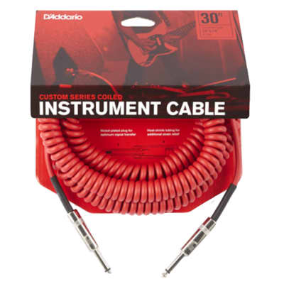 D'Addario Custom Series Coiled Instrument Cable, Red, 30'