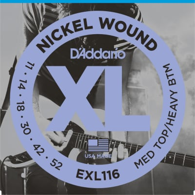 D'Addario Set of Nickel Wound Electric Guitar Strings Medium Top / Heavy Bottom Guage, 11-52