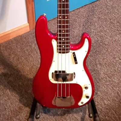 1966 Fender Precision Bass with Rosewood Fretboard in Candy Apple Red