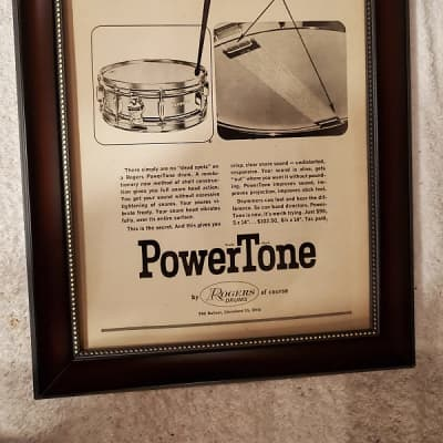 1963 Rogers Drums Promotional Ad Framed Powertone Snare Original