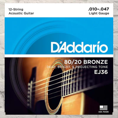 D'Addario EJ36 12-String Light 80/20 Bronze Acoustic Strings 10-47