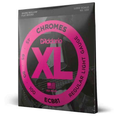 "D'Addario XL Chromes - Flat Wound Electric Bass Strings - Regular Light (45-100) - Long Scale (34"")"