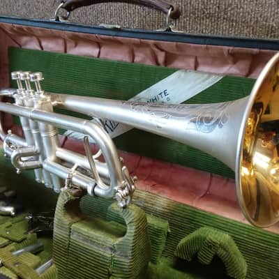 H. N. White King Master  1912 Vintage Antique Silver Professional Trumpet In Mint Condition
