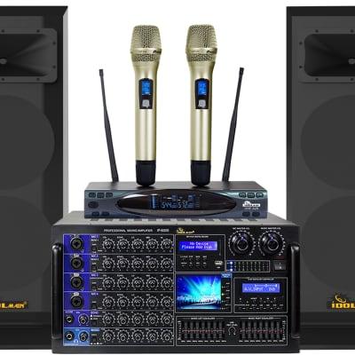 IDOLpro IPS-DELUXE 3 3000W Premium  Loudspeakers & Mixing Amplifier & Dual Wireless Microphones