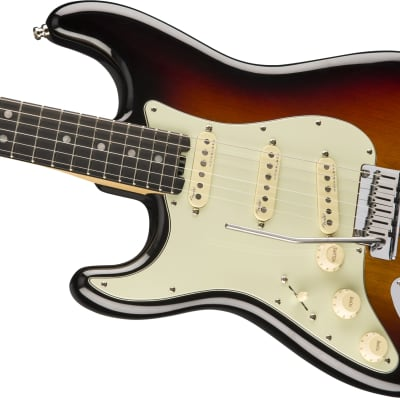 Fender American Elite Stratocaster Left-Hand, Ebony Fb, 3-Color Sunburst for sale