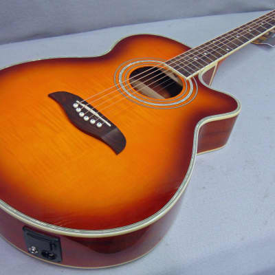 Oscar Schmidt OG10CEF Acoustic-Electric Guitar Flame Yellow Sunburst Professionally Set Up! for sale