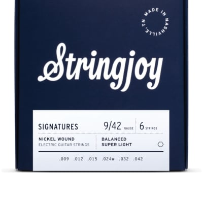 Stringjoy Signatures | Balanced Super Light Gauge (9-42) Nickel Wound Electric Guitar Strings