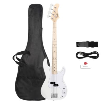 Glarry Premium II Precision Electric P- Bass Guitar White w/ GIG Bag Upgraded Pickup 2021 White for sale
