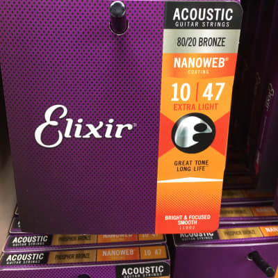 Elixir 11002 Nanoweb 80/20 Bronze Acoustic Guitar Strings - Extra Light (10-47)