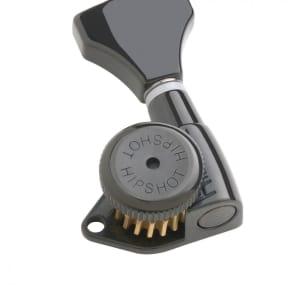 Hipshot Grip-Lock 6 in line Left Hand non-staggered post Black locking tuner with UMP