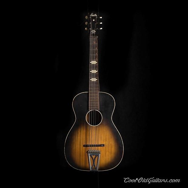 vintage stella acoustic guitar 1950s 60s with vintage waverly reverb. Black Bedroom Furniture Sets. Home Design Ideas