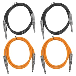 """Seismic Audio SASTSX-2-2BLACK2ORANGE 1/4"""" TS Male to 1/4"""" TS Male Patch Cables - 2' (4-Pack)"""