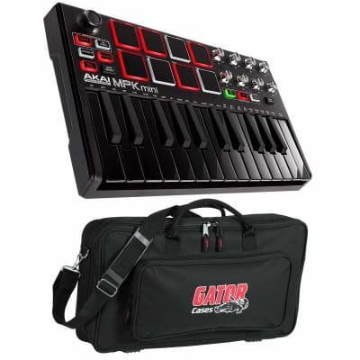 Akai MPK Mini mkII mk2 USB MIDI Compact Keyboard Controller Black w Gator Case