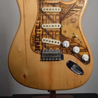 Pre-Owned 2013 Rick Kelly Pine Stratocaster With Custom Cindy Hulej Pickguard for sale