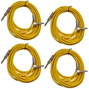 """Seismic Audio SAGC20R-YELLOW-4PACK Straight to Right-Angle 1/4"""" TS Guitar/Instrument Cables - 20"""" (4-Pack)"""