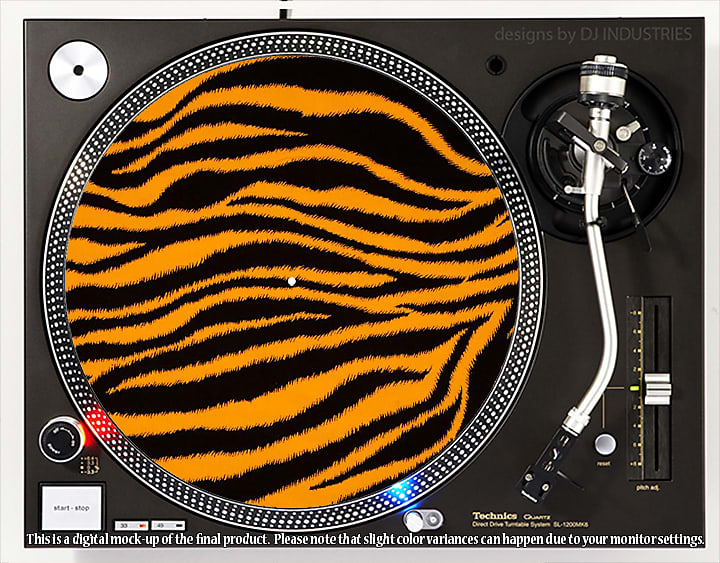 Dj Industries Tiger Print Dj Slipmat For Vinyl Lp