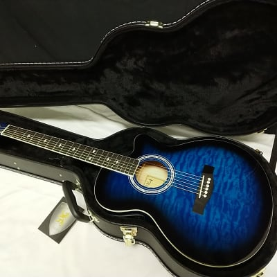 INDIANA Madison acoustic electric cutaway GUITAR new Trans Blue w/ HARD CASE for sale