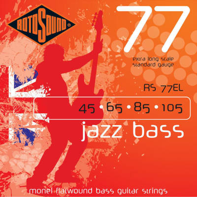 Rotosound RS77EL 4 STRING BASS GUITAR STRINGS MONEL FLATWOUND 45-105 Extra Long