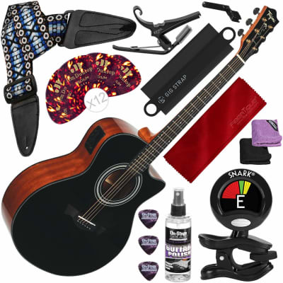 Tagima America Series California-T Acoustic Electric Guitar, Black with Capo, Strap, Massaging Strap Attachment and Deluxe Accessory Bundle for sale