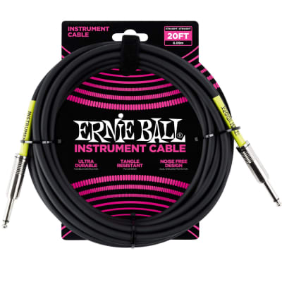Ernie Ball 6046 20' Straight / Straight Instrument Cable - Black