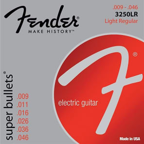 Fender Super Bullet Strings, Nickel Plated Steel, Bullet End, 3250LR Gauges .009-.046, (6) 2016