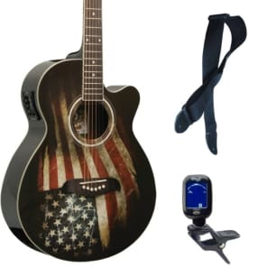 Oscar Schmidt OG10CE Cutaway Concert A/E Guitar, American Flag, Bundle for sale