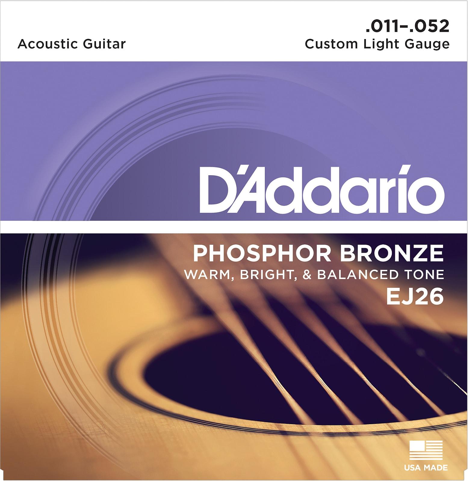 D'Addario EJ26 Phosphor Bronze Acoustic Guitar Strings, Custom Light, 11-52