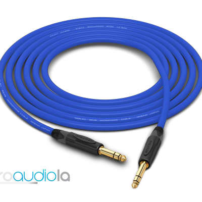 "Mogami 2549 Cable | Neutrik Gold 1/4"" TRS to 1/4"" TRS | Blue 6 Feet | 6 Ft. | 6'"