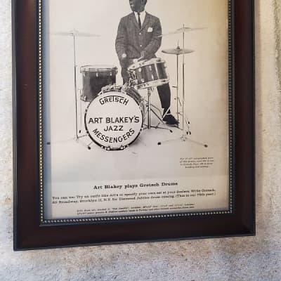1958 Gretsch Drums Promotional Ad Framed Art Blakey Original