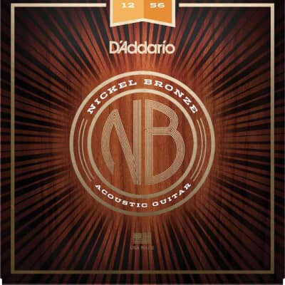 D'Addario NB1256 Nickel Bronze Acoustic Guitar Strings, Light Top / Med Bottom, 12-56