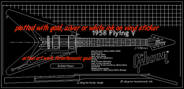 Gibson 1958 flying v blueprinttechnical drawing 22x46 reverb gibson 1958 flying v blueprinttechnical drawing 22x46 sticker great gift will personalize malvernweather Images