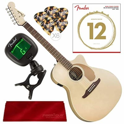 Fender Newporter Player California Series Acoustic Guitar, Champagne with Strings, Picks, Tuner and Polishing Cloth Bundle