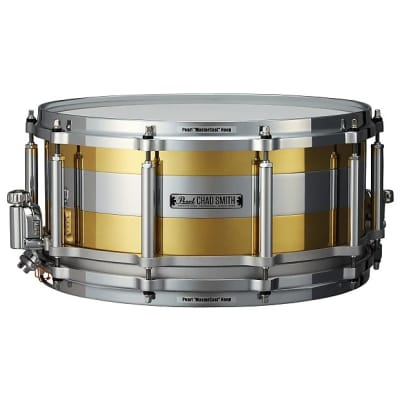 "Pearl CS1465F Chad Smith Signature 14x6.5"" ""Tricolon"" Free-Floating Brass/Steel Snare Drum"